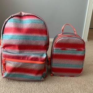 J. Crew sparkle-striped backpack and lunch box.